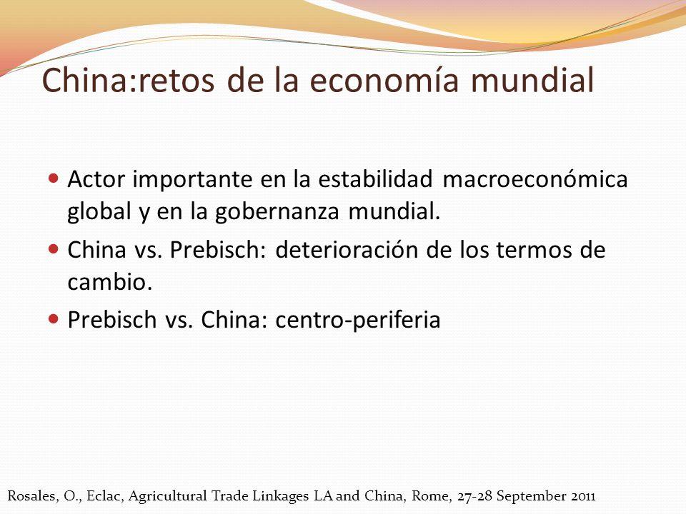 Actor importante en la estabilidad macroeconómica global y en la gobernanza mundial. China vs. Prebisch: deterioración de los termos de cambio. Prebis