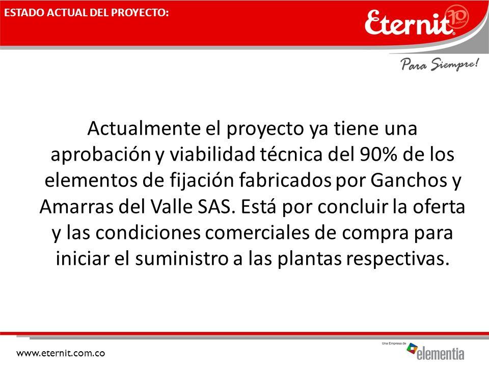 www.eternit.com.co ESTADO ACTUAL DEL PROYECTO: Actualmente el proyecto ya tiene una aprobación y viabilidad técnica del 90% de los elementos de fijaci