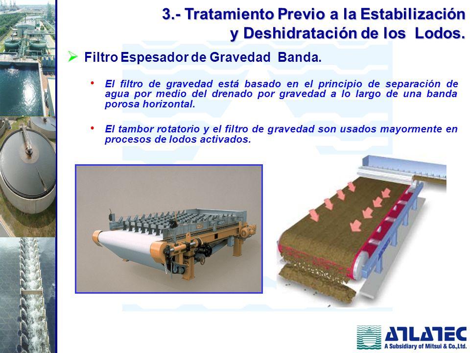 Filtro Espesador de Gravedad Banda. El filtro de gravedad está basado en el principio de separación de agua por medio del drenado por gravedad a lo la