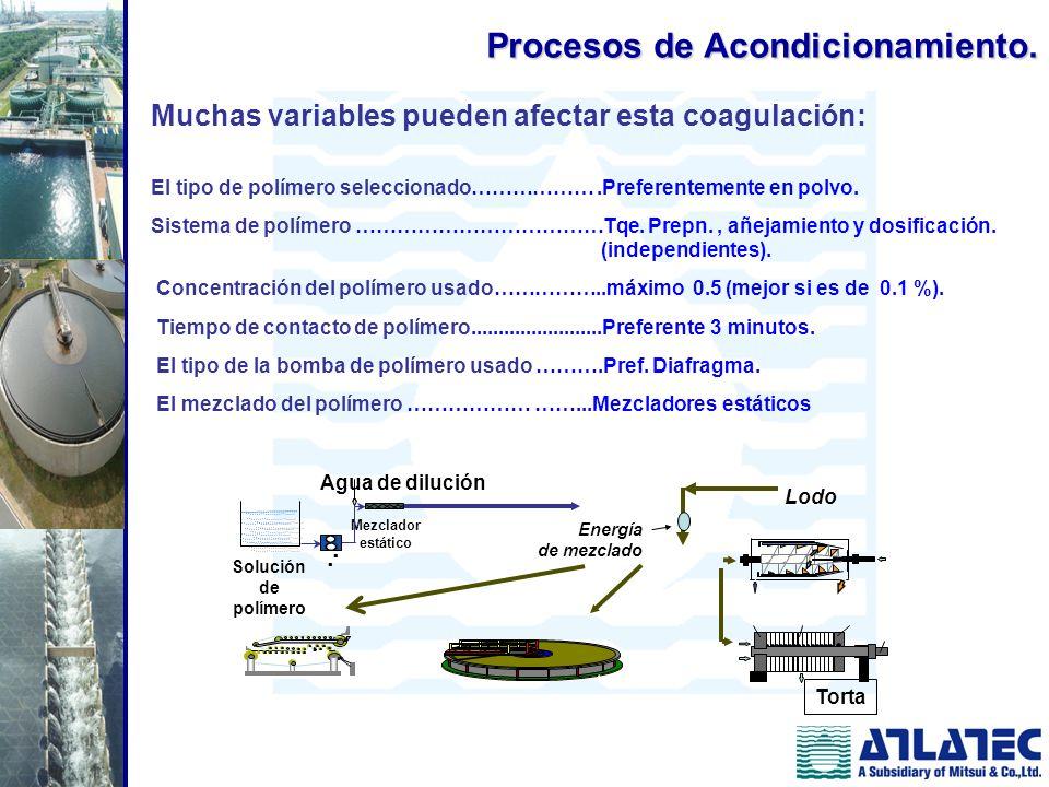Muchas variables pueden afectar esta coagulación: El tipo de polímero seleccionado……………….Preferentemente en polvo. Sistema de polímero ………………………………Tqe