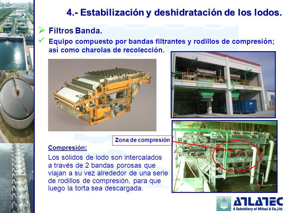 Filtros Banda. Equipo compuesto por bandas filtrantes y rodillos de compresión; así como charolas de recolección. Compresión: Los sólidos de lodo son