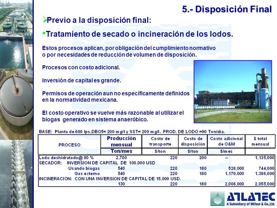 5.- Disposición Final Previo a la disposición final: Tratamiento de secado o incineración de los lodos. Estos procesos aplican, por obligación del cum