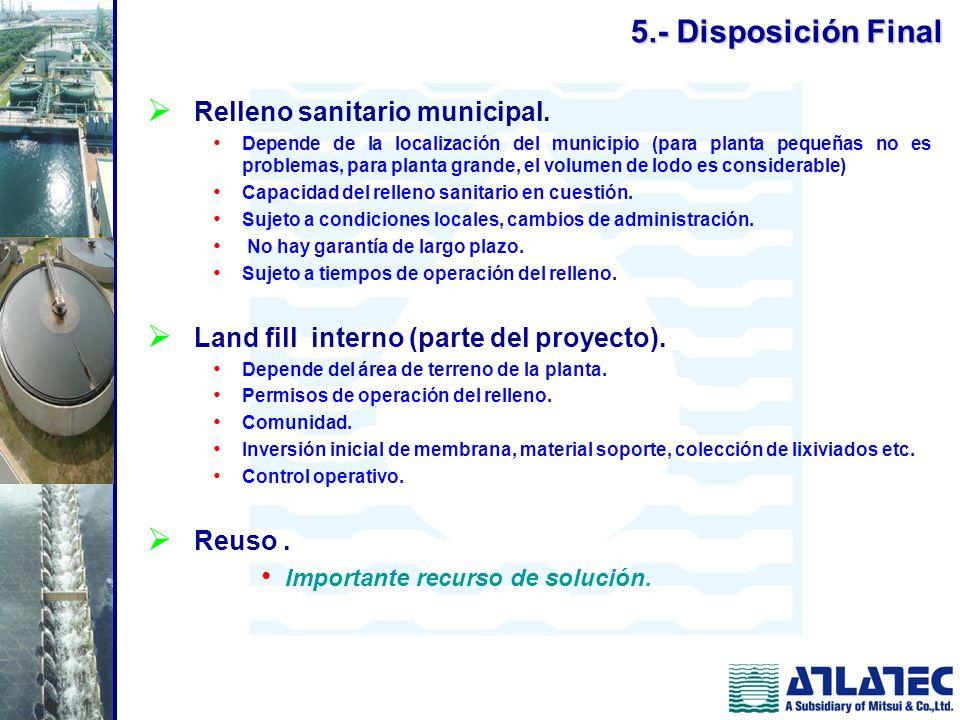 Relleno sanitario municipal. Depende de la localización del municipio (para planta pequeñas no es problemas, para planta grande, el volumen de lodo es