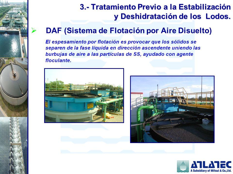 DAF (Sistema de Flotación por Aire Disuelto) El espesamiento por flotación es provocar que los sólidos se separen de la fase líquida en dirección asce