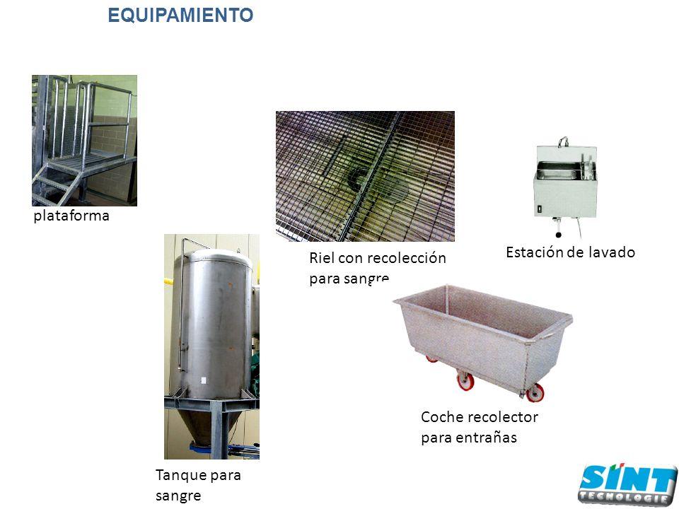 Riel con recolección para sangre plataforma Coche recolector para entrañas Estación de lavado Tanque para sangre EQUIPAMIENTO