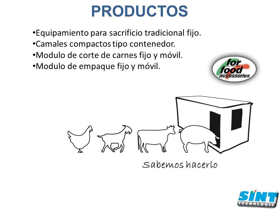 Equipamiento para sacrificio tradicional fijo. Camales compactos tipo contenedor. Modulo de corte de carnes fijo y móvil. Modulo de empaque fijo y móv