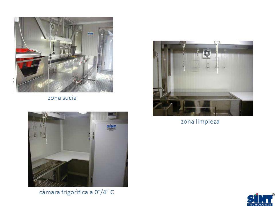 zona sucia zona limpieza càmara frigorìfica a 0°/4° C