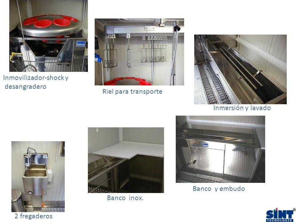 2 fregaderos Banco y embudo Banco inox. Riel para transporte Inmersión y lavado Inmovilizador-shock y desangradero