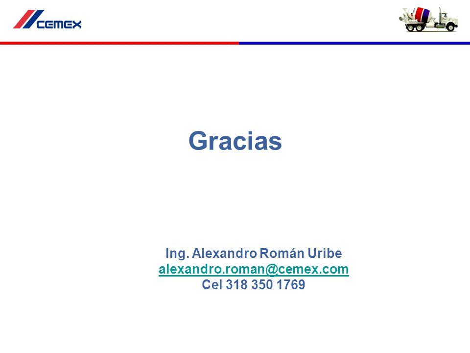 Gracias Ing. Alexandro Román Uribe alexandro.roman@cemex.com Cel 318 350 1769