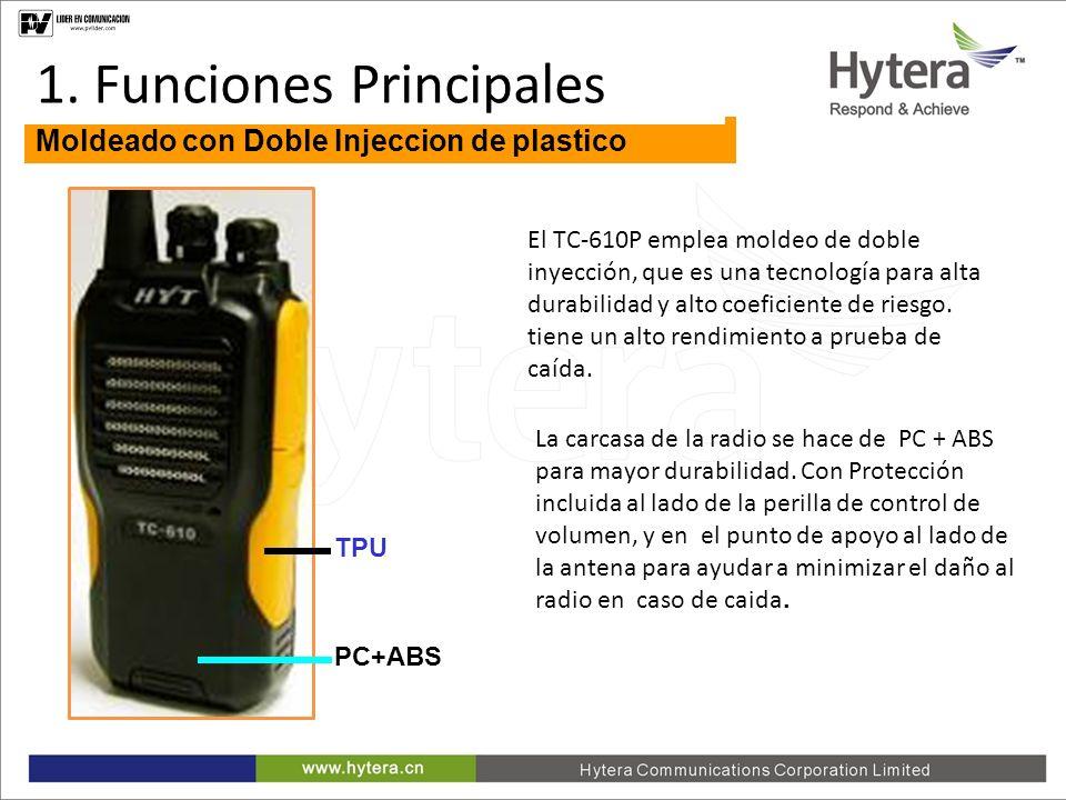 1. Main Functions Moldeado con Doble Injeccion de plastico El TC-610P emplea moldeo de doble inyección, que es una tecnología para alta durabilidad y