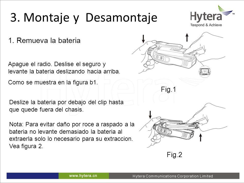 3. Disassemble and Assemble Fig.1 1. Remueva la bateria Apague el radio. Deslise el seguro y levante la bateria deslizando hacia arriba. Como se muest