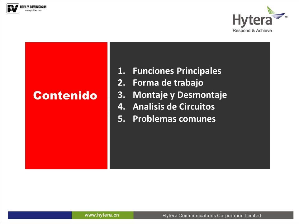 1.Funciones Principales 2.Forma de trabajo 3.Montaje y Desmontaje 4.Analisis de Circuitos 5.Problemas comunes Contenido