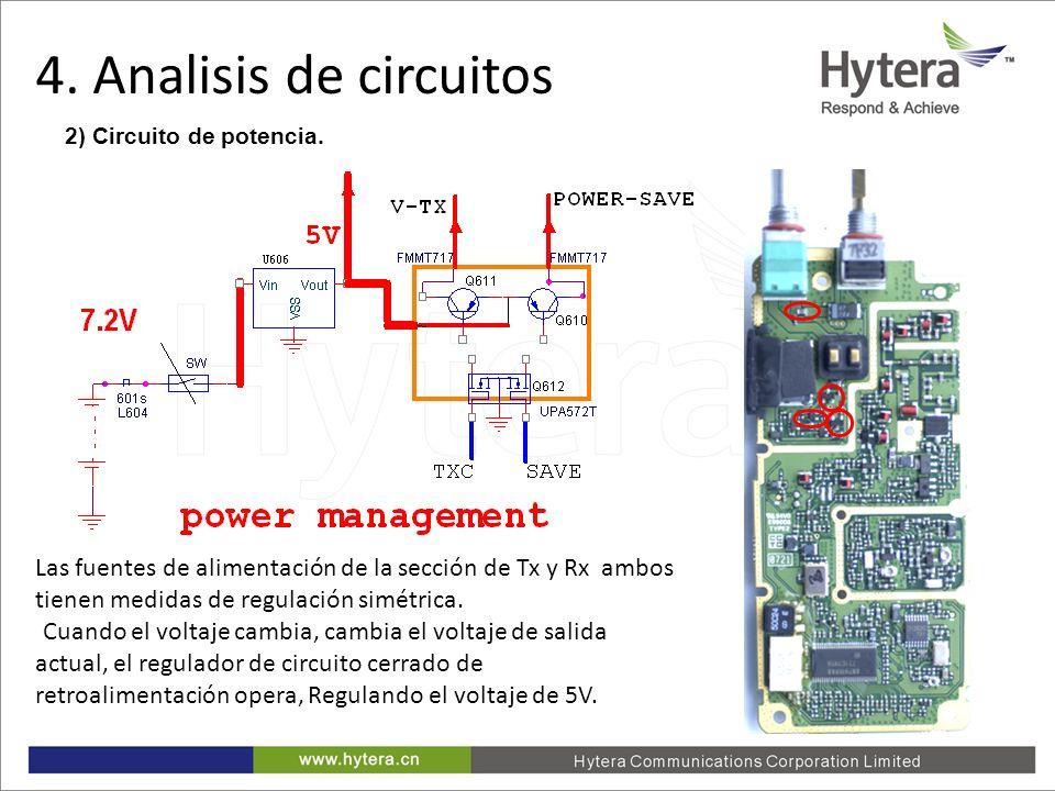 4. Circuit Analysis 2) Circuito de potencia. Las fuentes de alimentación de la sección de Tx y Rx ambos tienen medidas de regulación simétrica. Cuando