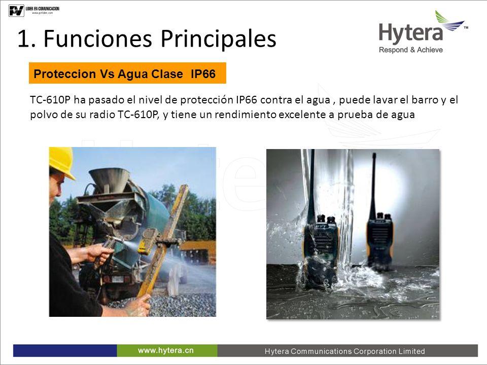 1. Main Functions Proteccion Vs Agua Clase IP66 TC-610P ha pasado el nivel de protección IP66 contra el agua, puede lavar el barro y el polvo de su ra