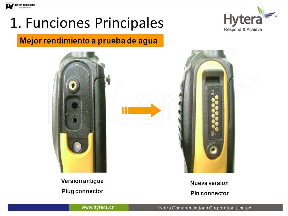 1. Main Functions Mejor rendimiento a prueba de agua Version antigua Plug connector Nueva version Pin connector 1. Funciones Principales
