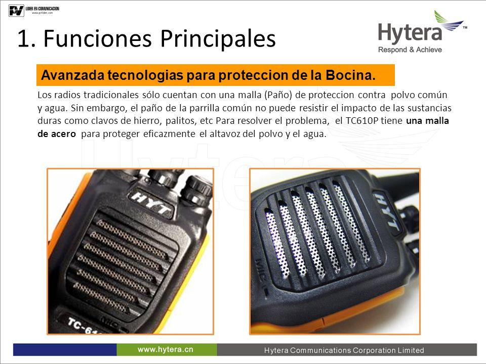1. Main Functions Los radios tradicionales sólo cuentan con una malla (Paño) de proteccion contra polvo común y agua. Sin embargo, el paño de la parri