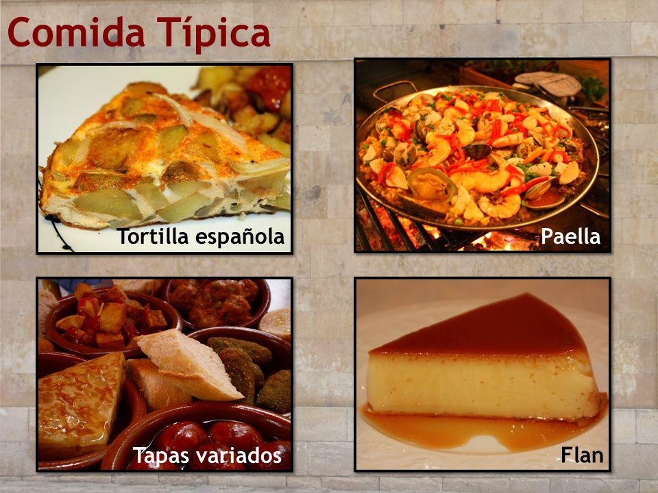 Comida Típica Tortilla española Flan Paella Tapas variados