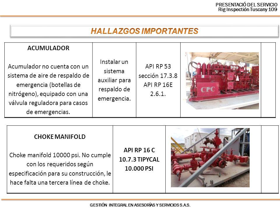 GESTIÓN INTEGRAL EN ASESORÍAS Y SERVICIOS S.A.S. ACUMULADOR Acumulador no cuenta con un sistema de aire de respaldo de emergencia (botellas de nitróge