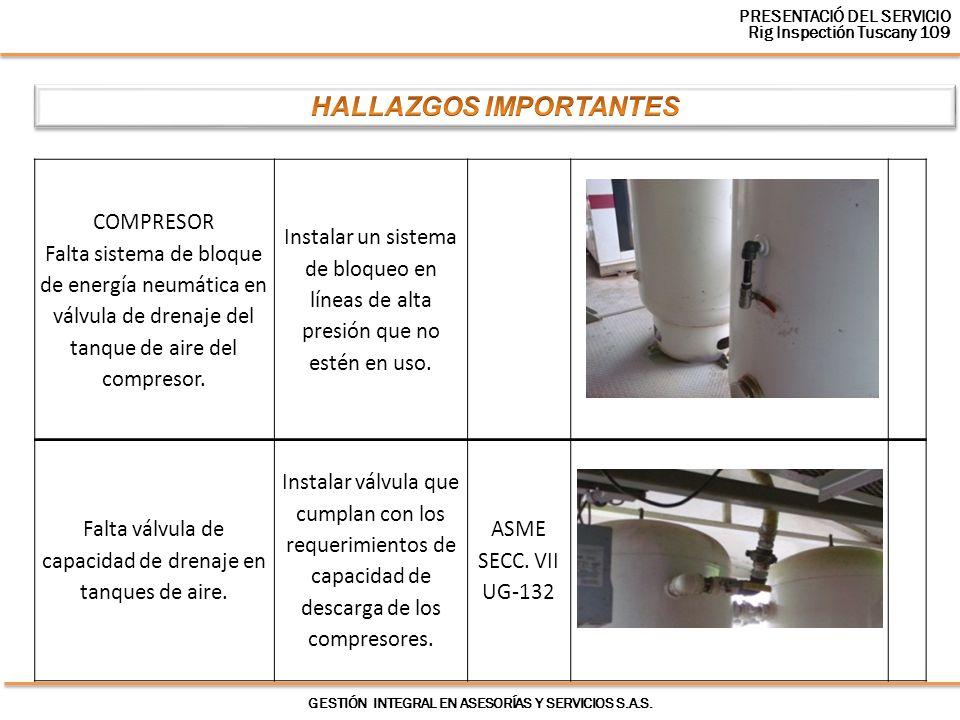 GESTIÓN INTEGRAL EN ASESORÍAS Y SERVICIOS S.A.S. COMPRESOR Falta sistema de bloque de energía neumática en válvula de drenaje del tanque de aire del c