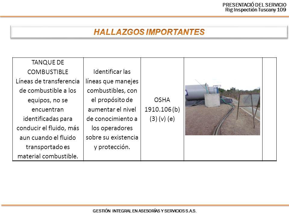 GESTIÓN INTEGRAL EN ASESORÍAS Y SERVICIOS S.A.S. TANQUE DE COMBUSTIBLE Líneas de transferencia de combustible a los equipos, no se encuentran identifi