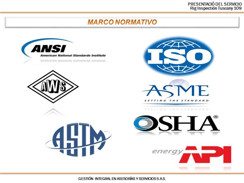GESTIÓN INTEGRAL EN ASESORÍAS Y SERVICIOS S.A.S. PRESENTACIÓ DEL SERVICIO Rig Inspectión Tuscany 109