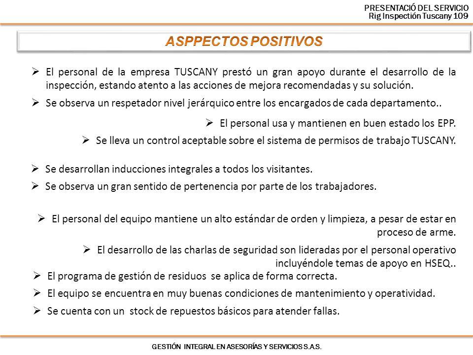 El personal de la empresa TUSCANY prestó un gran apoyo durante el desarrollo de la inspección, estando atento a las acciones de mejora recomendadas y