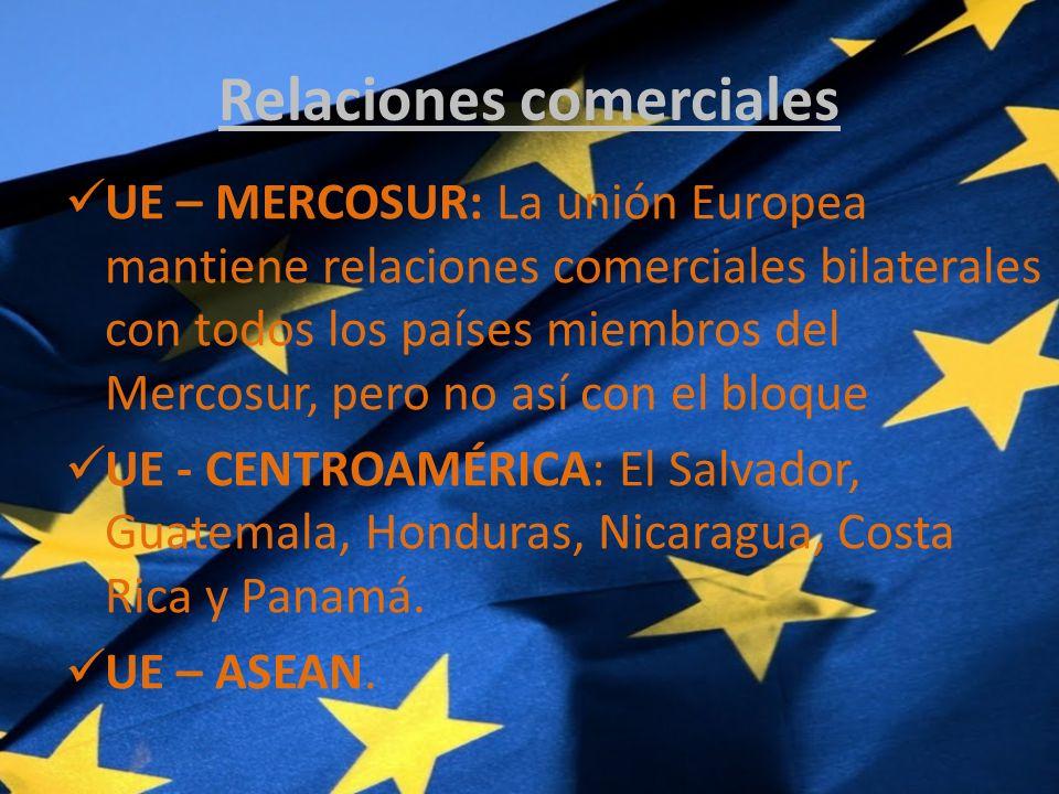 Relaciones comerciales UE – MERCOSUR: La unión Europea mantiene relaciones comerciales bilaterales con todos los países miembros del Mercosur, pero no así con el bloque UE - CENTROAMÉRICA: El Salvador, Guatemala, Honduras, Nicaragua, Costa Rica y Panamá.