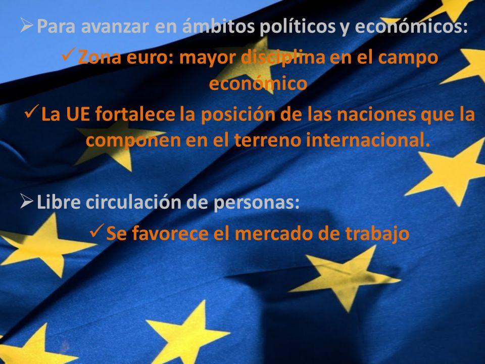 Para avanzar en ámbitos políticos y económicos: Zona euro: mayor disciplina en el campo económico La UE fortalece la posición de las naciones que la componen en el terreno internacional.