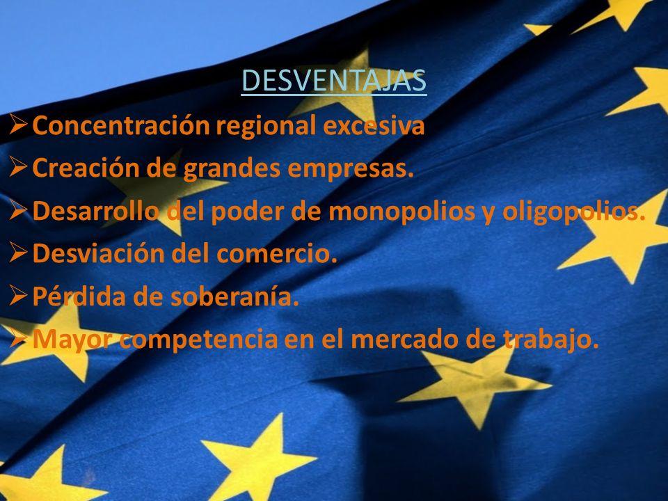 DESVENTAJAS Concentración regional excesiva Creación de grandes empresas.