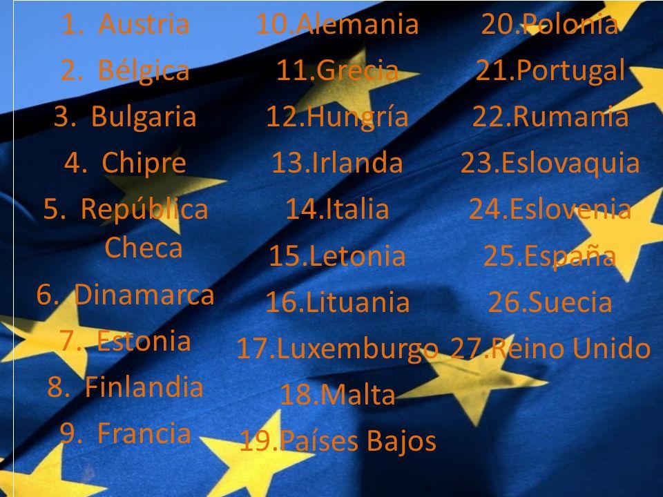 1.Austria 2.Bélgica 3.Bulgaria 4.Chipre 5.República Checa 6.Dinamarca 7.Estonia 8.Finlandia 9.Francia 10.Alemania 11.Grecia 12.Hungría 13.Irlanda 14.Italia 15.Letonia 16.Lituania 17.Luxemburgo 18.Malta 19.Países Bajos 20.Polonia 21.Portugal 22.Rumania 23.Eslovaquia 24.Eslovenia 25.España 26.Suecia 27.Reino Unido