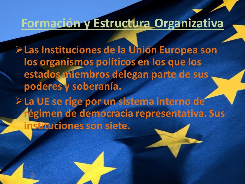 Formación y Estructura Organizativa Las Instituciones de la Unión Europea son los organismos políticos en los que los estados miembros delegan parte de sus poderes y soberanía.