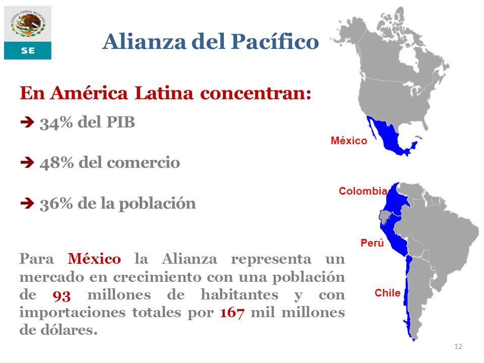 En América Latina concentran: 34% del PIB 48% del comercio 36% de la población México Colombia Perú Chile Alianza del Pacífico 12 Para México la Alian