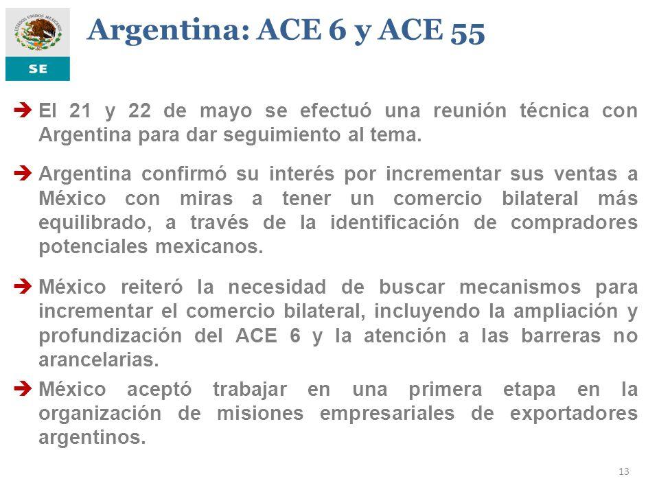 13 Argentina: ACE 6 y ACE 55 El 21 y 22 de mayo se efectuó una reunión técnica con Argentina para dar seguimiento al tema. Argentina confirmó su inter