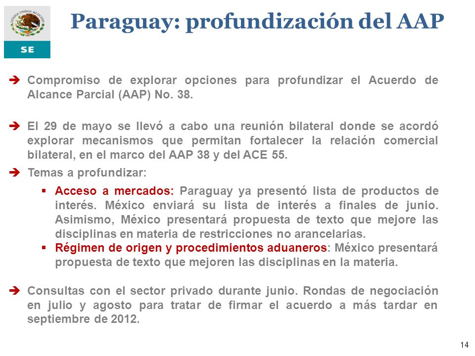 El 10 de abril, México y Cuba suscribieron un Marco General de Negociación.