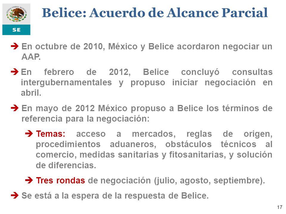 En octubre de 2010, México y Belice acordaron negociar un AAP. En febrero de 2012, Belice concluyó consultas intergubernamentales y propuso iniciar ne