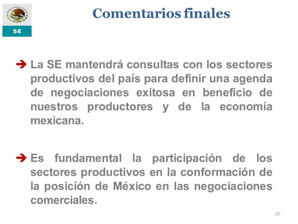 20 La SE mantendrá consultas con los sectores productivos del país para definir una agenda de negociaciones exitosa en beneficio de nuestros productor