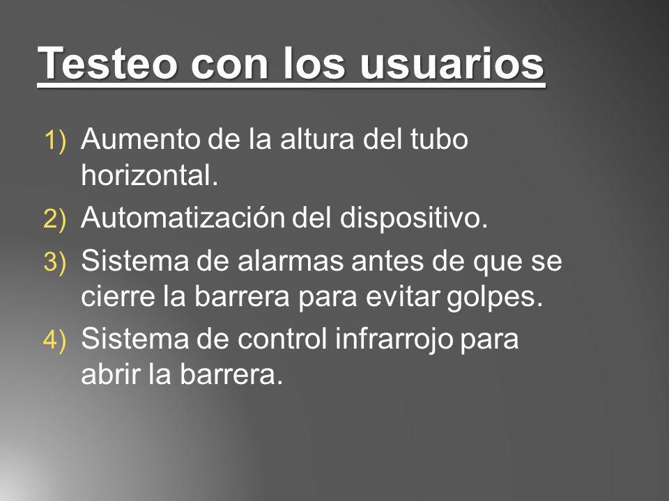 Testeo con los usuarios 1) Aumento de la altura del tubo horizontal. 2) Automatización del dispositivo. 3) Sistema de alarmas antes de que se cierre l