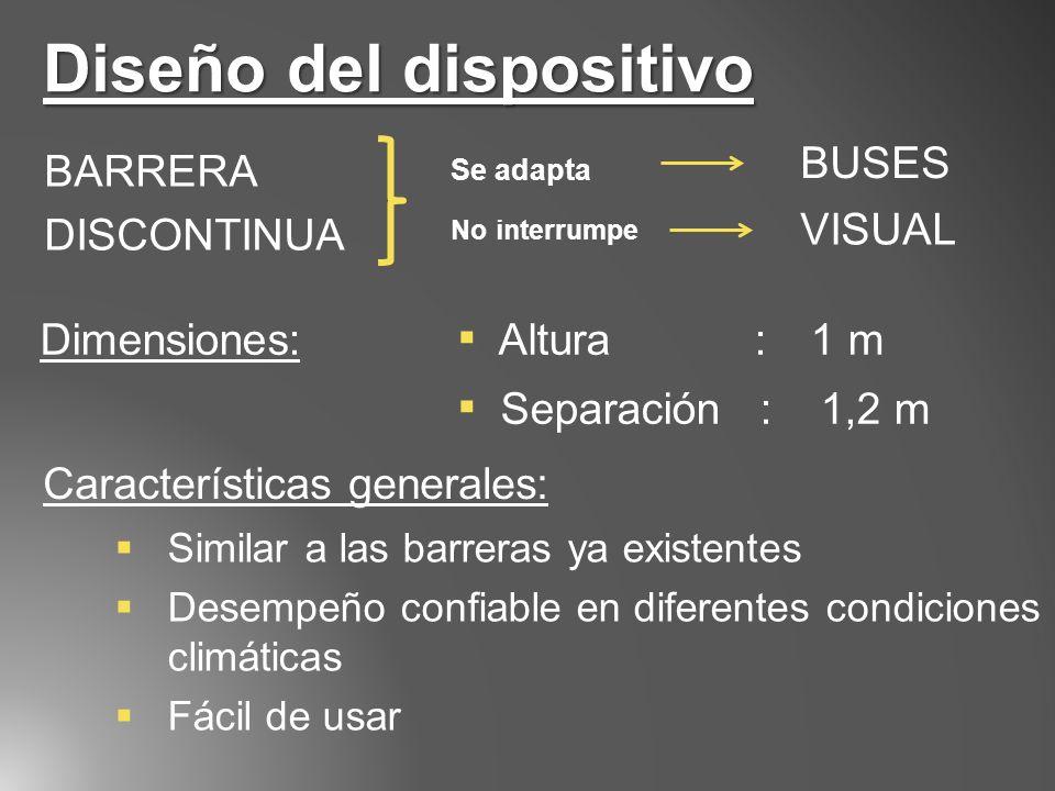 Diseño del dispositivo BARRERA DISCONTINUA Se adapta BUSES No interrumpe VISUAL Dimensiones: Altura : 1 m Separación : 1,2 m Similar a las barreras ya