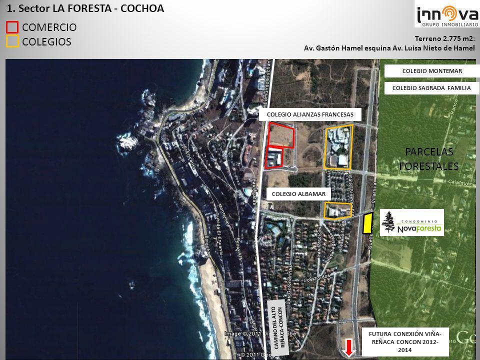 PARCELAS FORESTALES 1. Sector LA FORESTA - COCHOA COMERCIO COLEGIOS FUTURA CONEXIÓN VIÑA- REÑACA CONCON 2012- 2014 CAMINO DEL ALTO REÑACA-CONCON Terre