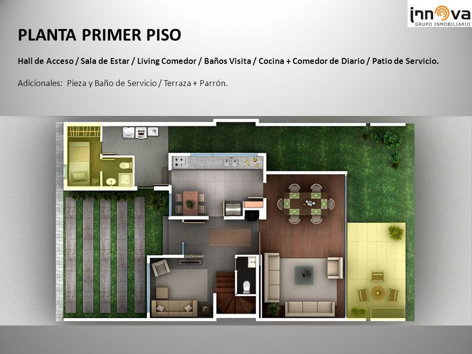 PLANTA PRIMER PISO Hall de Acceso / Sala de Estar / Living Comedor / Baños Visita / Cocina + Comedor de Diario / Patio de Servicio. Adicionales: Pieza