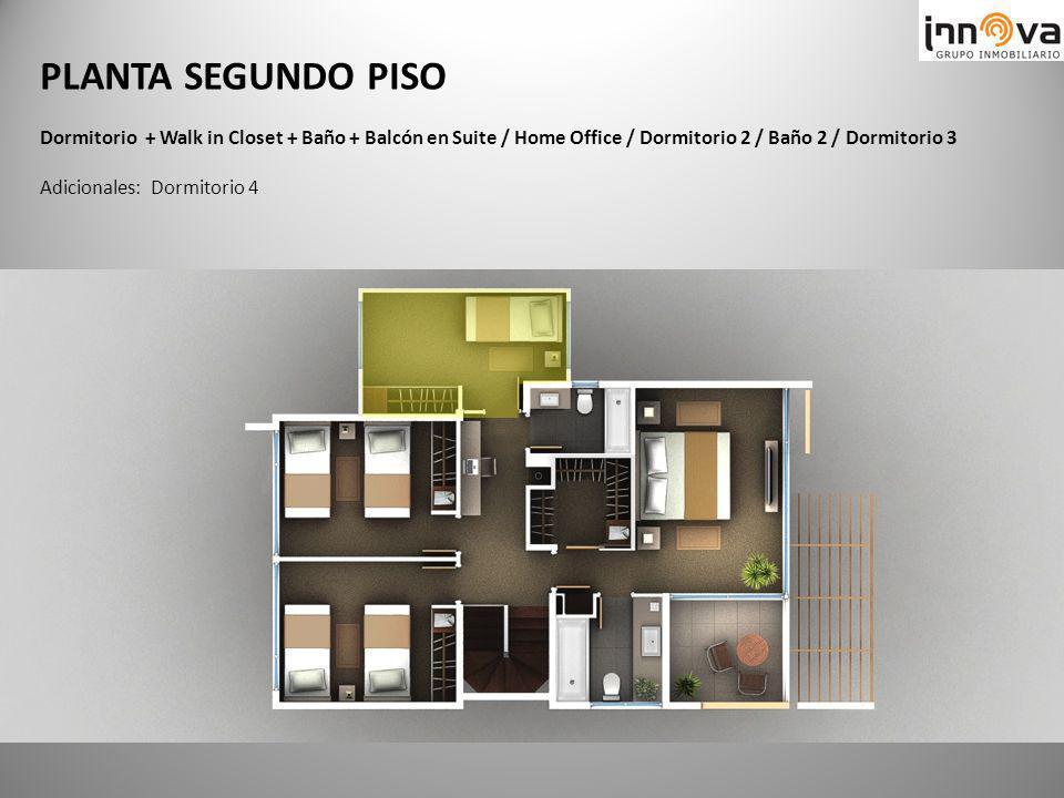PLANTA SEGUNDO PISO Dormitorio + Walk in Closet + Baño + Balcón en Suite / Home Office / Dormitorio 2 / Baño 2 / Dormitorio 3 Adicionales: Dormitorio