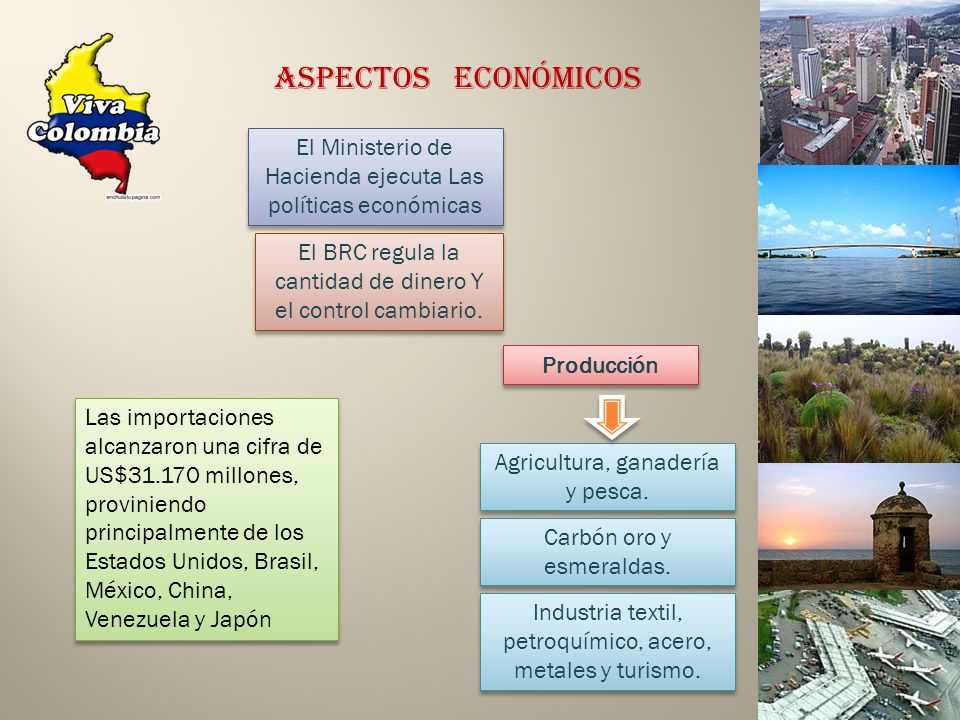 El Ministerio de Hacienda ejecuta Las políticas económicas Aspectos Económicos El BRC regula la cantidad de dinero Y el control cambiario. Agricultura