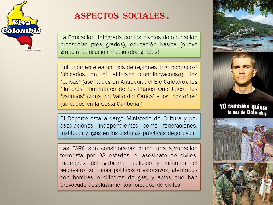 La Educación: integrada por los niveles de educación preescolar (tres grados), educación básica (nueve grados), educación media (dos grados) Aspectos Sociales.
