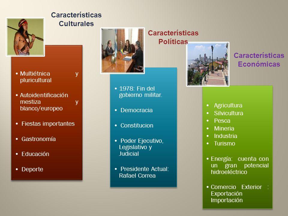 Multiétnica y pluricultural Autoidentificación mestiza y blanco/europeo Fiestas importantes Gastronomía Educación Deporte Agricultura Silvicultura Pes