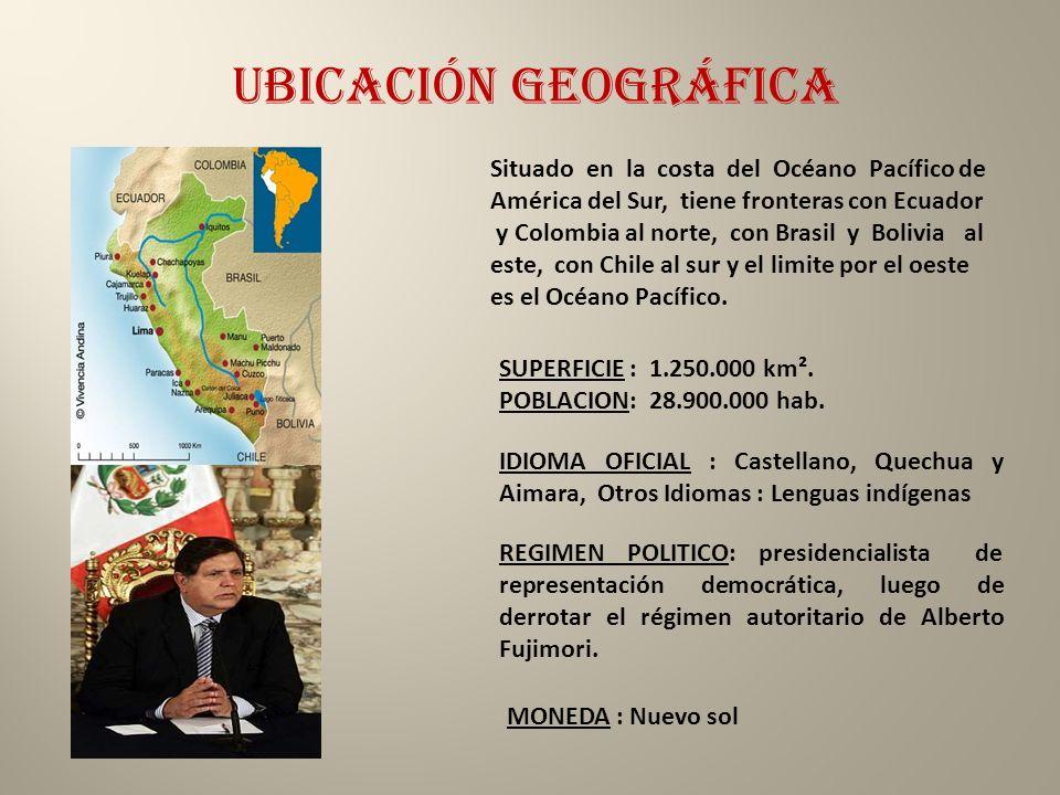 Ubicación geográfica SUPERFICIE : 1.250.000 km². POBLACION: 28.900.000 hab. IDIOMA OFICIAL : Castellano, Quechua y Aimara, Otros Idiomas : Lenguas ind