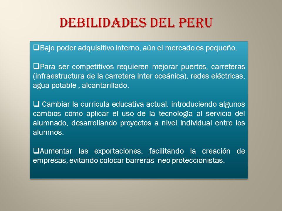 ESTRATEGIAS PARA EL DESARROLLO Económico Firmar un TLC con COREA DEL SUR, CHINA,JAPON, SINGAPUR para incrementar su producción, crear más empresas y generar más empleos, mejor remunerados para su población debido a que el Perú cuenta con un mercado interno reducido y con bajo poder adquisitivo, Ratificar el convenio firmado con la Unión Europea para convertirse en el segundo país de Sudamérica que dispone de tan amplio mercado internacional, superado sólo por Chile.