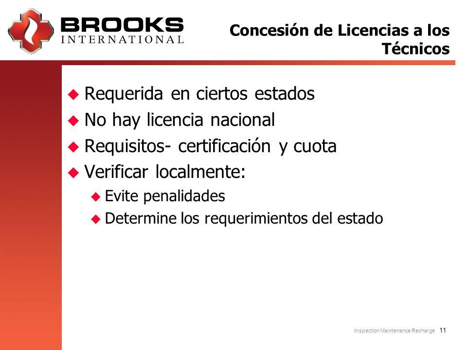Inspection Maintenance Recharge 11 u Requerida en ciertos estados u No hay licencia nacional u Requisitos- certificación y cuota u Verificar localment