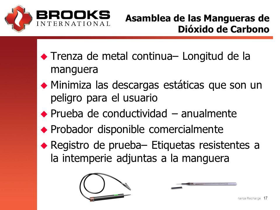 Inspection Maintenance Recharge 17 u Trenza de metal continua– Longitud de la manguera u Minimiza las descargas estáticas que son un peligro para el u
