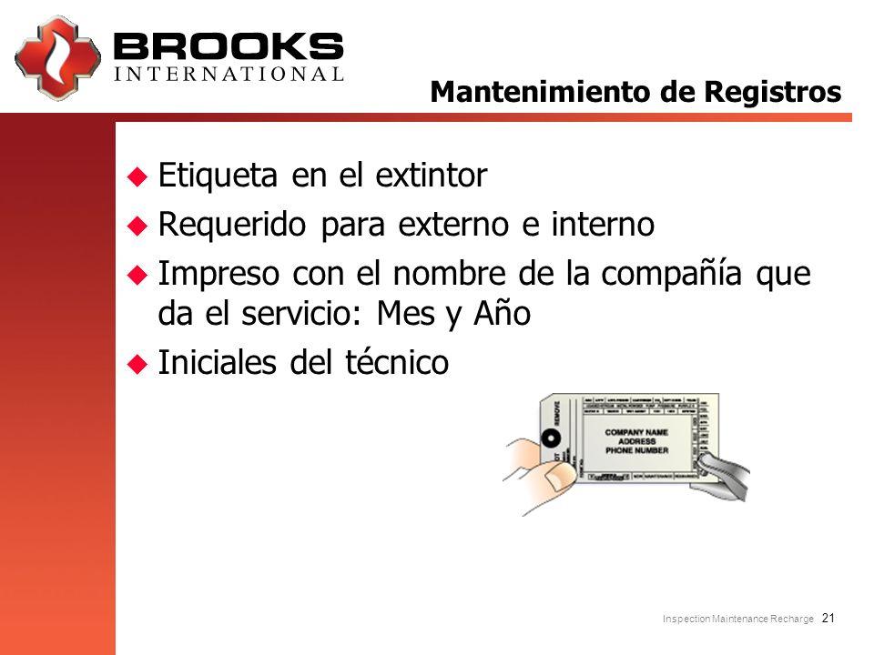 Inspection Maintenance Recharge 21 u Etiqueta en el extintor u Requerido para externo e interno u Impreso con el nombre de la compañía que da el servi