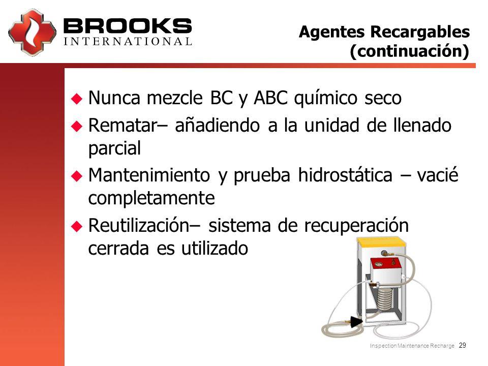 Inspection Maintenance Recharge 29 u Nunca mezcle BC y ABC químico seco u Rematar– añadiendo a la unidad de llenado parcial u Mantenimiento y prueba h